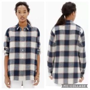 Madewell Oversized Boyshirt In Primary Plaid